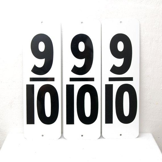 """Vintage Large Metal Number 9/10, 6"""" x 16"""", NOS Gas Station"""