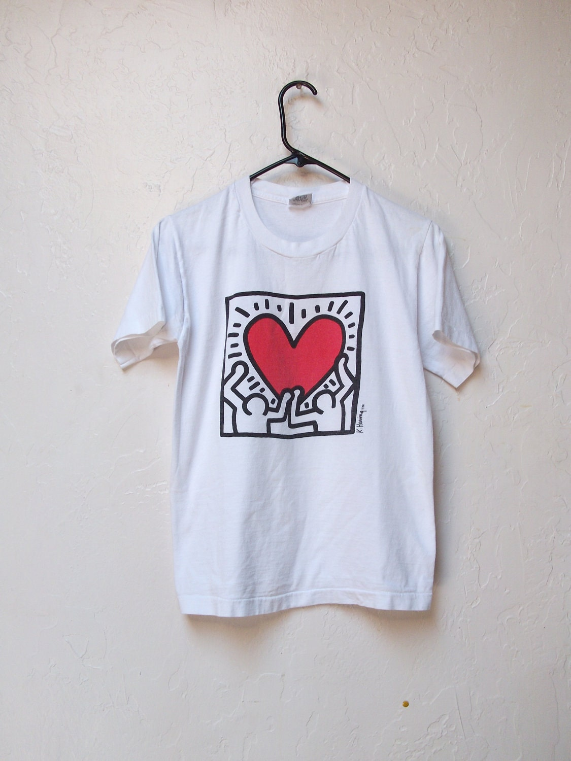 vintage official pop shop keith haring t shirt circa by. Black Bedroom Furniture Sets. Home Design Ideas