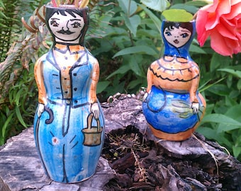 Old Clay Vases, Hand Painted Man and Woman