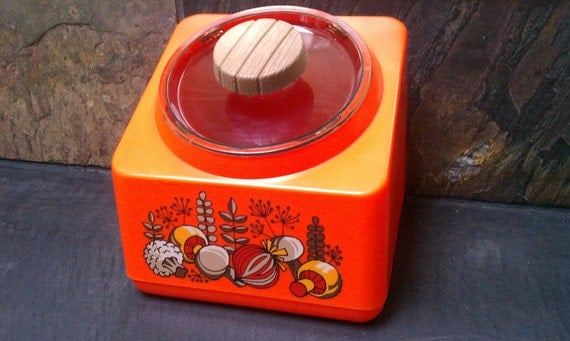 Retro Bright Orange Mushroom & Vegetable Square Canister by Rubbermaid