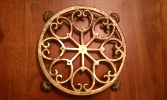 Decorative Claw Footed Brass Trivet or Plant Holder