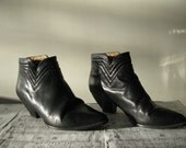 Vintage Black Leather Ankle Boots