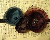 Turquoise, Plum and Brown Flower With Glass Beaded Center Stretch Headband. XL size.