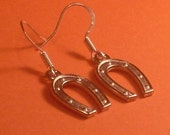 Lucky HORSESHOE Earrings with Sterling Silver Hooks - Unique and Cute