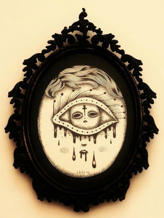 Death in my eyes (original drawing with old original frame from 1960)