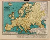 Vintage Map Europe Original 1935