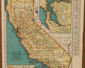 Vintage Map California Original 1937