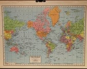 Vintage Map World Original 1944 - PastOnPaper