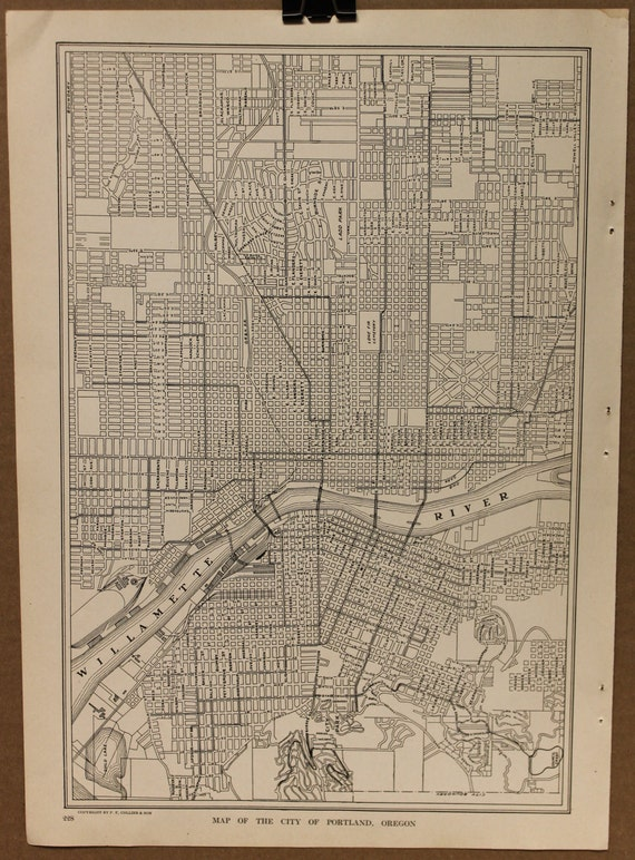 Vintage Map Portland Oregon Street Map Original 1927