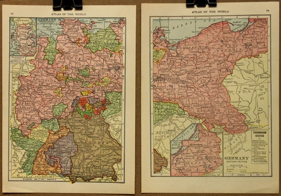 Two Vintage Maps of Germany 1915