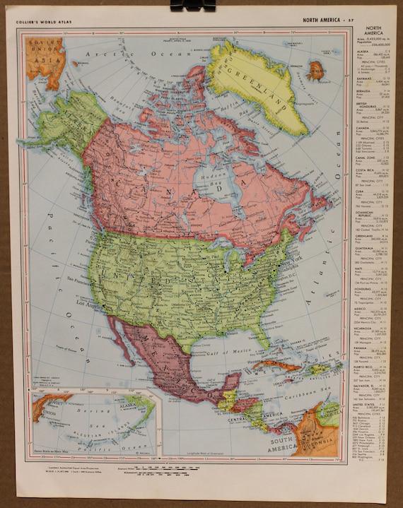 Vintage Map North America Original 1955