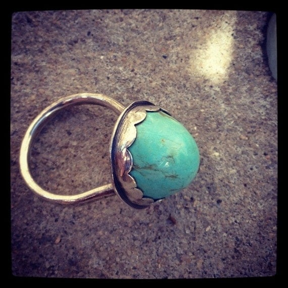 Natural Baby Blue Turquoise Ring Scalloped Bezel with a Secret Key