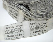 130 Pieces Woven Labels, Sew in Labels,  Woven Tags,  Sew On Labels, Fabric Label Trim,  Sewing Love No. B4
