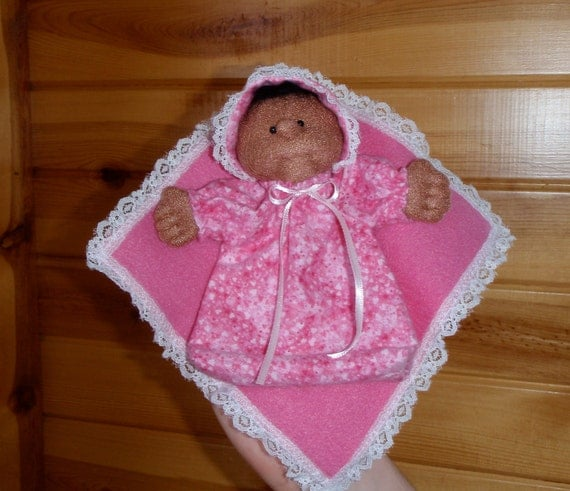 SUPER CLEARANCE SALE - Finger Puppet - African American Soft Sculpture Baby Doll