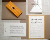 Custom Wedding Invitations: Unique Handmade Rustic Kraft Pocket Fold Invites- You Pick Colors