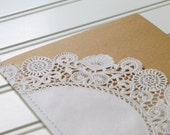 Sewn Doily Kraft Wedding Programs: Handmade.  Rustic Wedding. Wedding Ceremony Program. Shabby Chic Wedding.