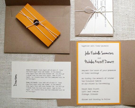 for you, Kiersten- Upgrades for Custom Wedding Invitations: Unique Handmade Rustic Kraft Pocket Fold Invites- You Pick Colors
