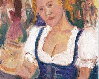 Oktoberfest dirndl study 8 - original oil painting 9.5 x 7 in