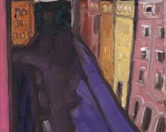 Munich study: my street - original oil painting 9.5x7in