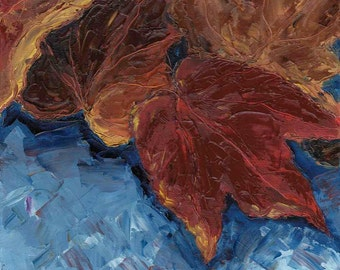 Original Oil Painting - Autumn leaves 4 - 8x8in canvas board