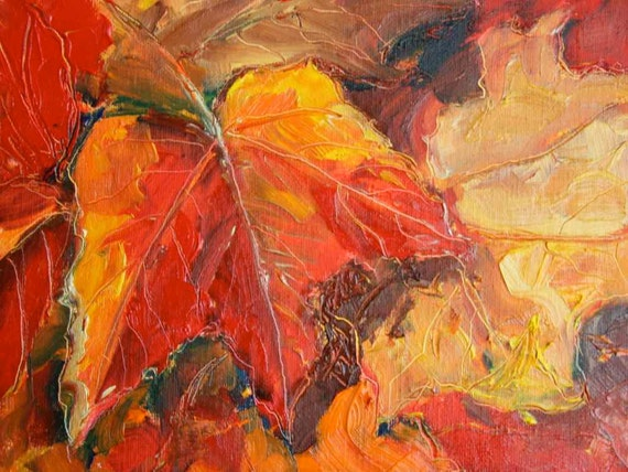 Autumn leaves - stil life - original oil painting 7 x 9.5 in
