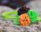 SALE - Baby Flower Headband, Orange, Brown, Grass Green Felt Flowers,Felt Flowers, Girls Headband, Toddler Headband, Autumn Colors
