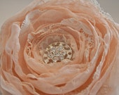 Vintage Inspired Large Pastel Peach Flower Brooch or Hair Clip
