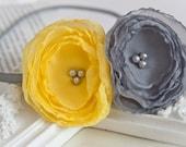 Yellow and Grey Chiffon Lollipop Flower Headband Hair Accessory Flower Girl  Girl Headband  Women Headband