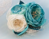 OOAK - Ivory and Teal Green Silk Flower Fascinator with Vintage Lace, Gold Stamens and Netting Accents - Bridal Hair Piece - Israel