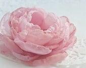 Blush Pink Cabbage Rose Chiffon Flower Brooch or Hair Clip -  Pink - Blush - Romantic Bridal Hair Flower or Sash Flower - Israel