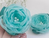 Aqua Flowers Hair Clips (2 pcs), Flowers with Lace and Pearls, Flower Clips, Bobby Pin, Wedding, Bridesmaids Gift