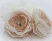 Ivory and Beige Hair Flowers (2 pcs) - Elegant Flower Bobby Pins - Nude - Casual - Handmade Satin Flowers - Israel