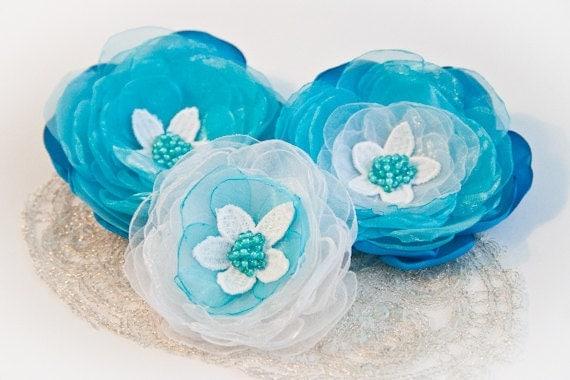 Light Blue Organza Flower Hair Clips (3 pcs) - Hair Flowers - Wedding Accessory - Ice Blue - White - Something Blue
