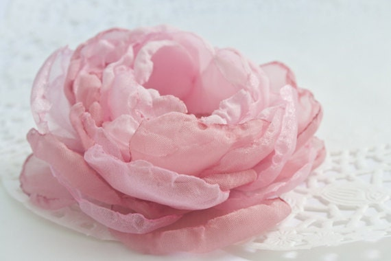 Blush Pink Cabbage Rose Chiffon Flower Brooch or Hair Clip -  Pink - Blush - Romantic Bridal Hair Flower or Sash Flower - Israel