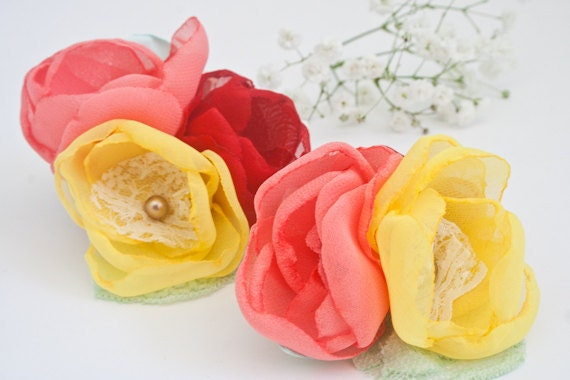 Reserved for Eileen - Flower Hair Clips (2 pcs) Coral Red Yellow Chiffon Hair Flowers