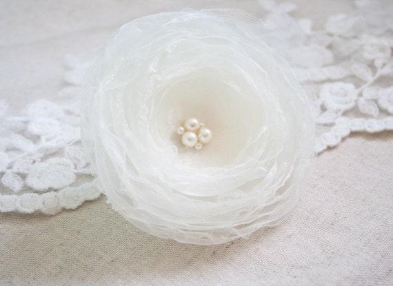 Ivory Wedding Hair Flower - Organza Hair Flower with Pearls - Ivory Wedding Hair Flower - Bridal Hair Accessory