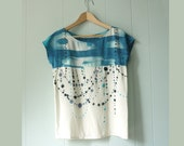silk hand painted shirt. INDIGO IKAT DOT made to order blouse - Custom sizing - XSILK