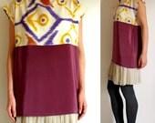 hand painted silk shirt.  HOOT ikat tee.  made to order hand painted silk shirt - Custom sizing