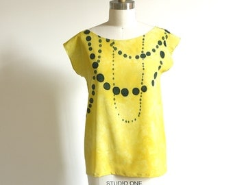 silk hand painted blouse.  INK BEADS on Lemon.  made to order