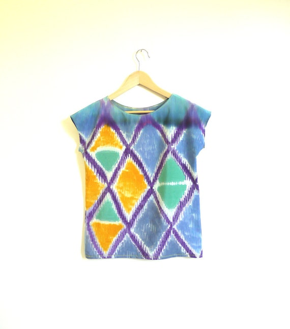 Hand painted SILK shirt. IKAT DIAMOND one of kind, sample - ready to ship.