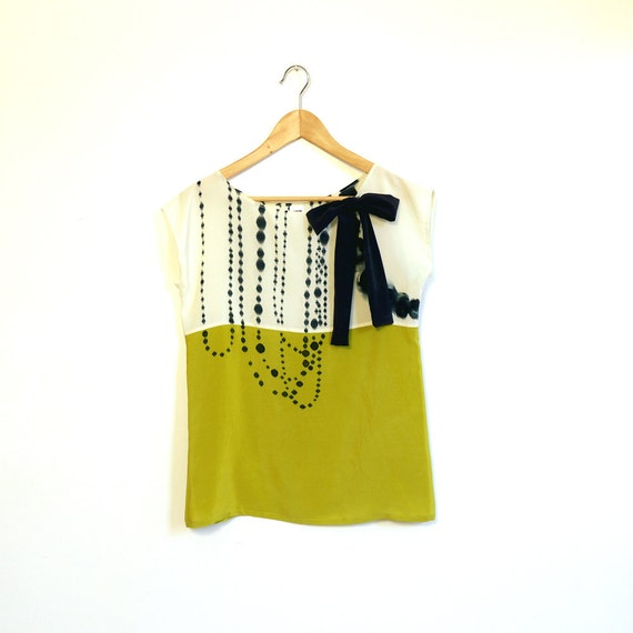 hand painted SILK top.  INK BEADS on cream and chartreuse. Custom sizing.