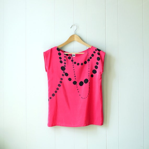 Sample sale // silk hand painted blouse.  INK BEADS on PINK. ready to ship