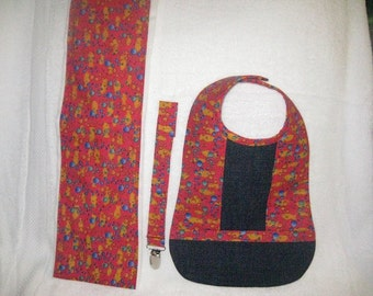 Fish Bib, Burp Cloth & Pacifier Clip set
