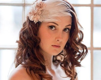 Cherry Blossom Feather and Floral Bridal Cap Headdress