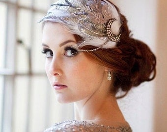 Jazz Age Sparkle and Feather Vintage Bridal Cap