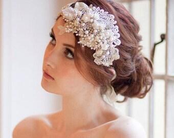 Vintage Milliner's Sparkle Headdress Crystal and Pearl Bridal Cap