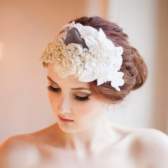 Vintage Milliner's Lace and Velvet  Bridal Cap