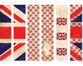 Vintage British Union Jack Queen Flag Bookmarks - INSTANT DIGITAL DOWNLOAD