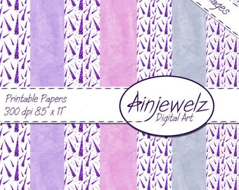 Christmas Instant Download Simply Purple Trees 7 x Christmas tree and plain papers, cardmaking, scrapbooking, papercraft,christmas printable