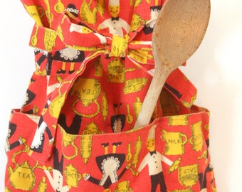 Vintage Children's Red and Yellow Art Smock Wrap Around Apron w/ pockets for Cooking Baking Cupcake Wars Top Chef Crafts Painting Preschool